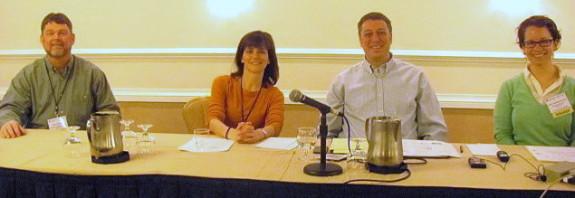 Students and E-books panel: (L-R) Edward Walton, Erica Swenson Danowitz, Michael LaMagna, Sarah Hartman-Caverly